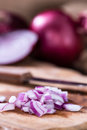 Portion of diced Red Onions Royalty Free Stock Photo