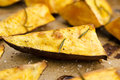 Portion of fresh baked sweet potato wedges Royalty Free Stock Photo