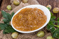 Portion of gooseberry jam fresh homemade Royalty Free Stock Photo