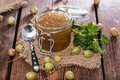 Portion of gooseberry jam fresh homemade Stock Images