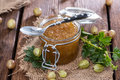 Portion of gooseberry jam fresh homemade Stock Photo