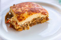 Portion of greek moussaka Royalty Free Stock Photo