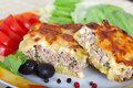 Portion of Greek moussaka with zucchini Royalty Free Stock Photo