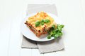 Portion of lasagna on a plate Stock Images