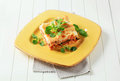 Portion of lasagna on a yellow plate Stock Images