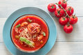 Portion of minestrone soup with meatball top view Royalty Free Stock Image