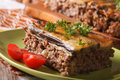 Portion of moussaka with eggplant on a plate macro. horizontal Royalty Free Stock Photo