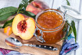 Portion of peach jam homemade Royalty Free Stock Photos