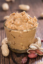 Portion of peanut butter in a small bowl Stock Images