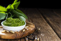 Portion of ramson pesto fresh homemade on rustic background Royalty Free Stock Photos