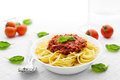 Portion spaghetti bolognese basil leaves tomatoes Royalty Free Stock Photo
