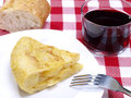 Portion of Spanish omelet. Potatoes omelet. Stock Images