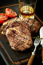 Portions of tender barbecued rump or sirloin steak Royalty Free Stock Photo