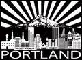 Portland City Skyline and Mount Hood Black White vector Illustration Royalty Free Stock Photo