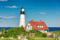 The Portland Head Lighthouse at sunset, Maine, USA Royalty Free Stock Photo