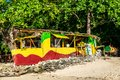 stock image of  Traditional colorful bamboo outdoor vendor cook shop on Winnifred Beach in Portland, Jamaica