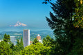 Portland and mt hood mount rising above downtown oregon Royalty Free Stock Photography