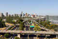 Portland oregon skyline with freeway downtown city traffic daytime Stock Images