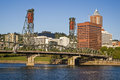 Portland skyline hawthorne bridge willamette river and oregon Royalty Free Stock Photography