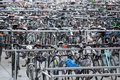 Many rows of parked bicycles Royalty Free Stock Photo
