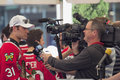 Portland winterhawks ice hockey players interviewed oregon may team members being by television station at pioneer square rally Royalty Free Stock Image