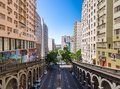 Otavio Rocha viaduct over Borges de Medeiros Avenue in downtown Porto Alegre city - Porto Alegre, Rio Grande do Sul, Brazil Royalty Free Stock Photo