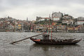 Porto boats and buildings view of bridge along douro river portugal Royalty Free Stock Photos