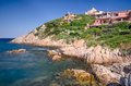 Porto cervo sardinia cliffs with houses in Stock Photos