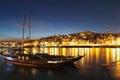 Porto cityscape at night beautiful of dusk portugal Stock Photo