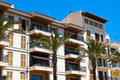 Porto Cristo Hotel and the palms, Majorca, Spain Royalty Free Stock Photos