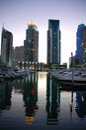 Porto de Dubai no crepúsculo Imagem de Stock Royalty Free