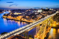 Porto with the dom luiz bridge portugal night view of historic city of Royalty Free Stock Photo