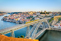 Porto with the dom luiz bridge portugal view of historic city of Royalty Free Stock Images