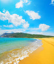 Porto ferro beach on a cloudy day sardinia Royalty Free Stock Photography