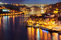 Porto in the night part of city with river and bridge portugal Stock Photo