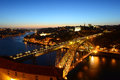 Porto old city night view porto portugal douro river and dom luis bridge ponte de dom luís i scene from mosteiro da serra do Royalty Free Stock Image