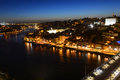 Porto old city night view porto portugal and douro river scene from mosteiro da serra do pilar Stock Images