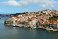 Porto old city river view porto portugal and ribeira district from dom luis bridge ponte de dom luís i is Royalty Free Stock Photography