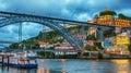 Porto, Portugal: the Dom Luis I Bridge and the Serra do Pilar Monastery on the Vila Nova de Gaia side Royalty Free Stock Photo