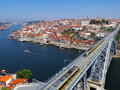 Porto portugal overview of the city of and the douro river by a hot summer day in Royalty Free Stock Photo