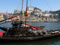 Porto portugal wine boats with the city of in the background Stock Photo