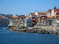 Porto ribeira and river douro view on cais da from ponte luis portugal Stock Image