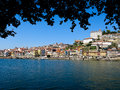 Porto ribeira and river douro view of cais da zona from gaia portugal Stock Photography