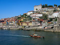 Porto ribeira and river douro view on zona bishop s palace from ponte luis portugal Royalty Free Stock Image
