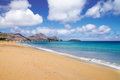 Porto santo golden beach sand and blue and green sea near vila baleira madeira portugal Stock Photos