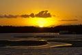 Porto seguro sundown at buranhem river bahia brazil Royalty Free Stock Images