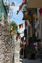 Porto Venere street and little flags