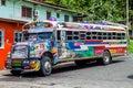 PORTOBELO, PANAMA - MAY 28, 2016: Colorful chicken bus, former US school bus. in Portobelo village, Pana Royalty Free Stock Photo