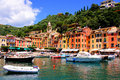 Portofino harbor boat filled at the village of italy Stock Image