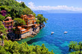 Portofino luxury homes along the italian coast at Royalty Free Stock Images